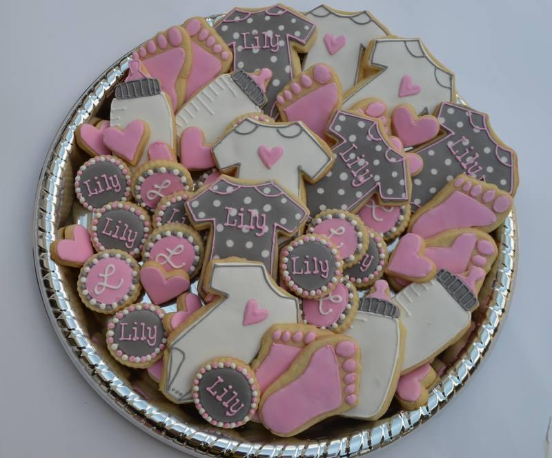 Pink Grey girl baby shower Cookie Connection