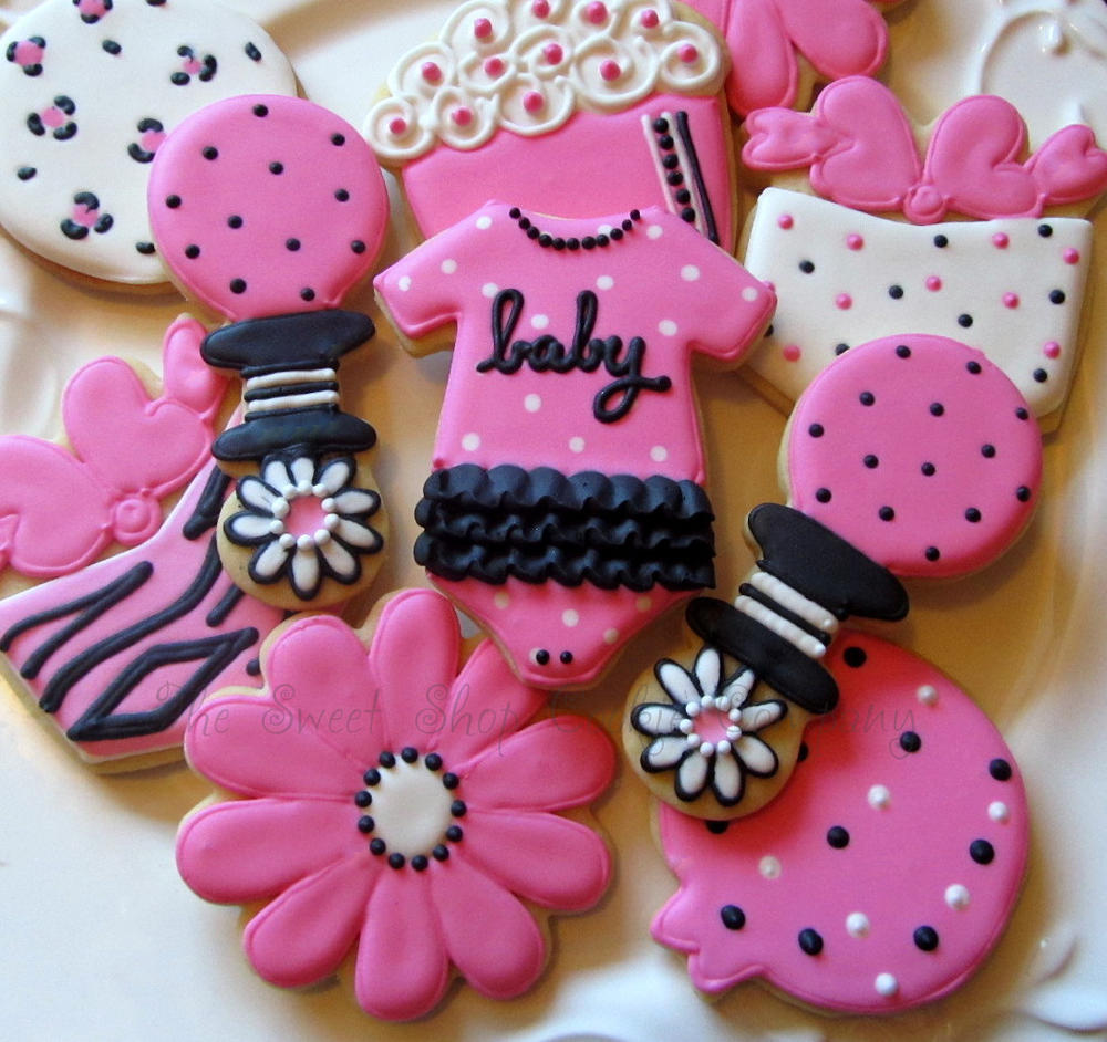 Pink And Black Baby Shower Cookie Connection
