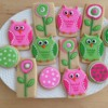 Pink and Green Owls & Flowers