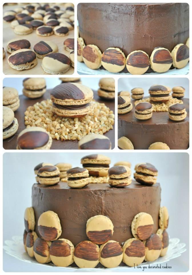 layer macaron cake, collage