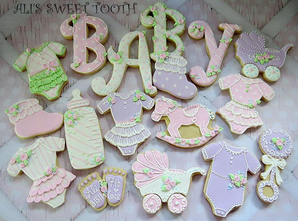 Aliu0027s Sweet Tooth Baby Shower Cookies Pink U0026amp; Lavender