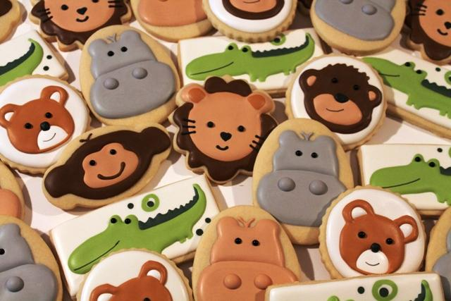 Jungle Animal baby shower cookies