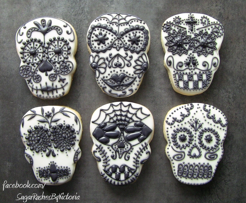 Black And White Sugar Skulls Cookie Connection