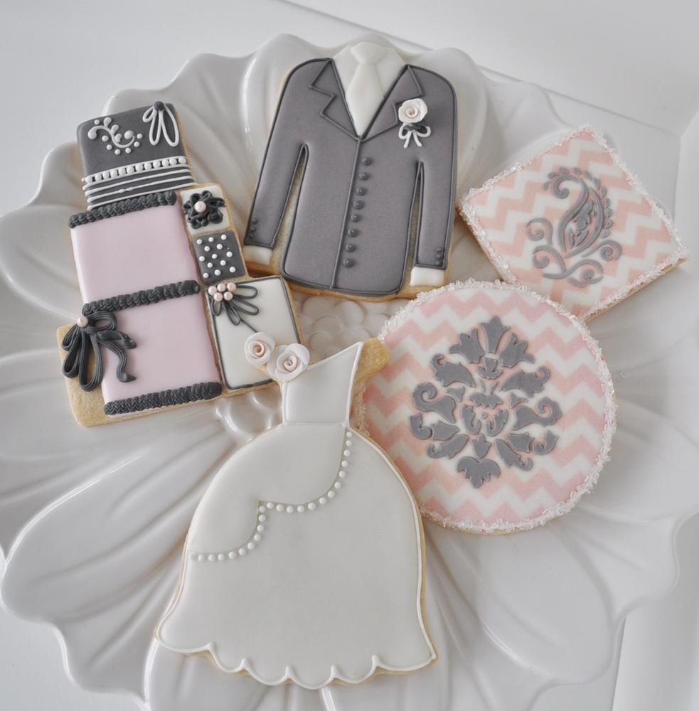 Wedding Cookies - Pink & Grey Collection