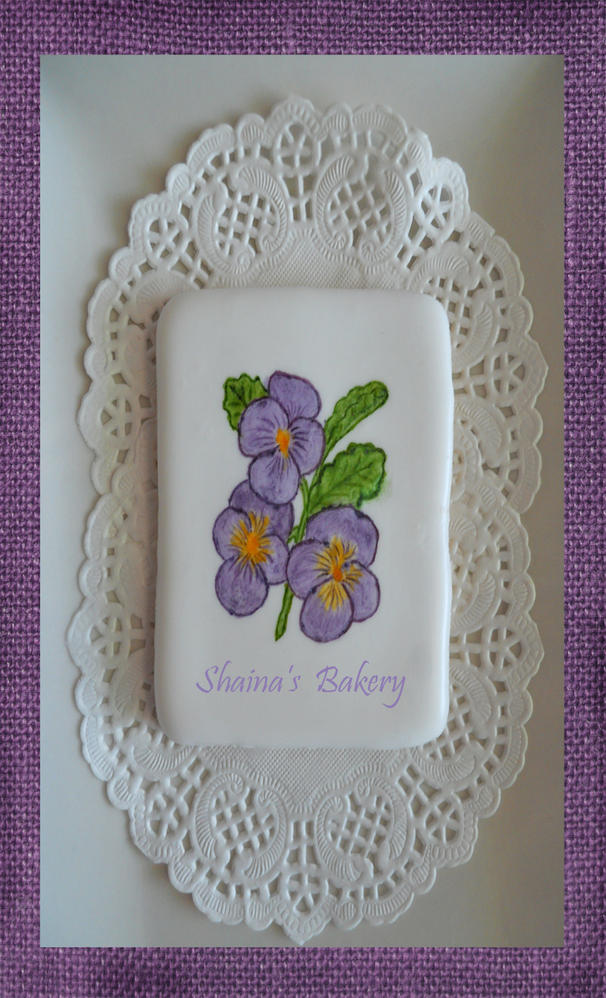 Handpainted Pansies Cookie