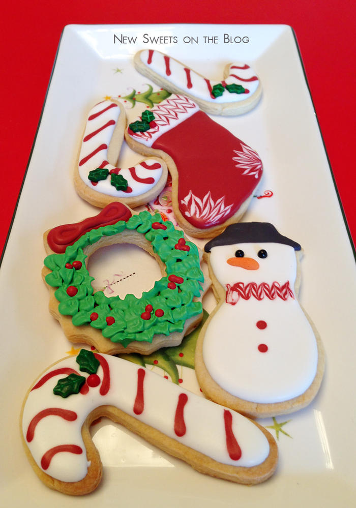 Red & white Cristmas cookies set
