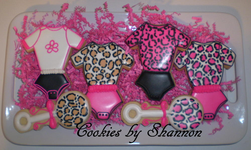 hot pink cheetah baby shower cookie connection