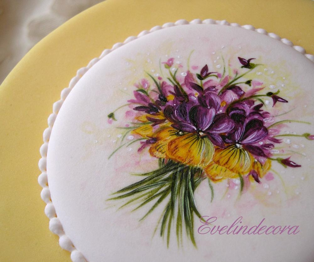hand-painted royal icing plaque for cake
