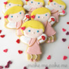 Cupid Girl Cookies from a Snowman Cutter