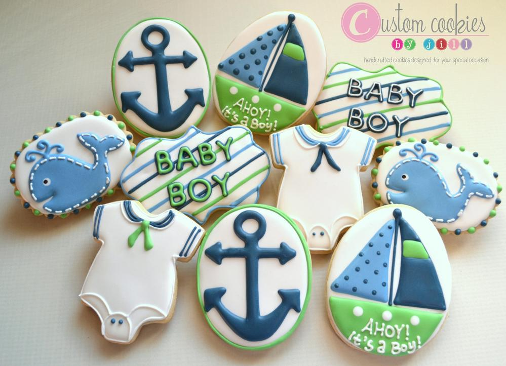 819ab0731 Nautical Baby Shower - Custom Cookies by Jill | Cookie Connection