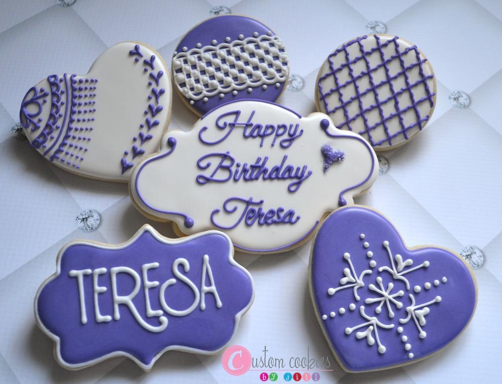 Cross Stitch/Lace Birthday Cookies - Custom Cookies by Jill