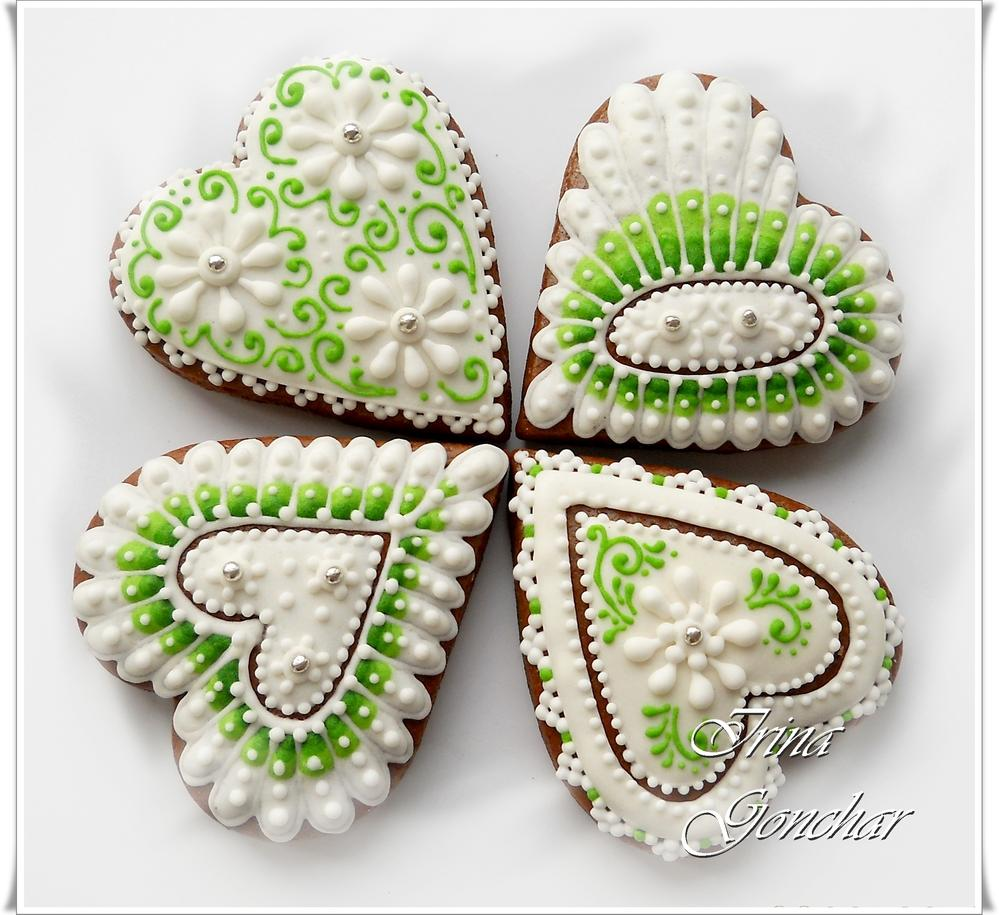 Hearts White&Green3