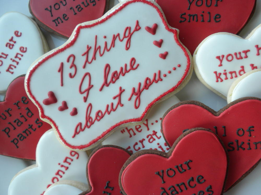 Personalized love heart cookies