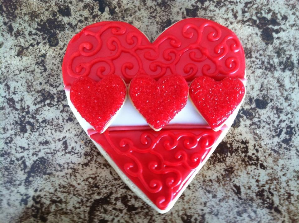Triple Heart - GFDF Cookie Creations
