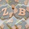 Monogrammed Brush Embroidery Wedding Cookies