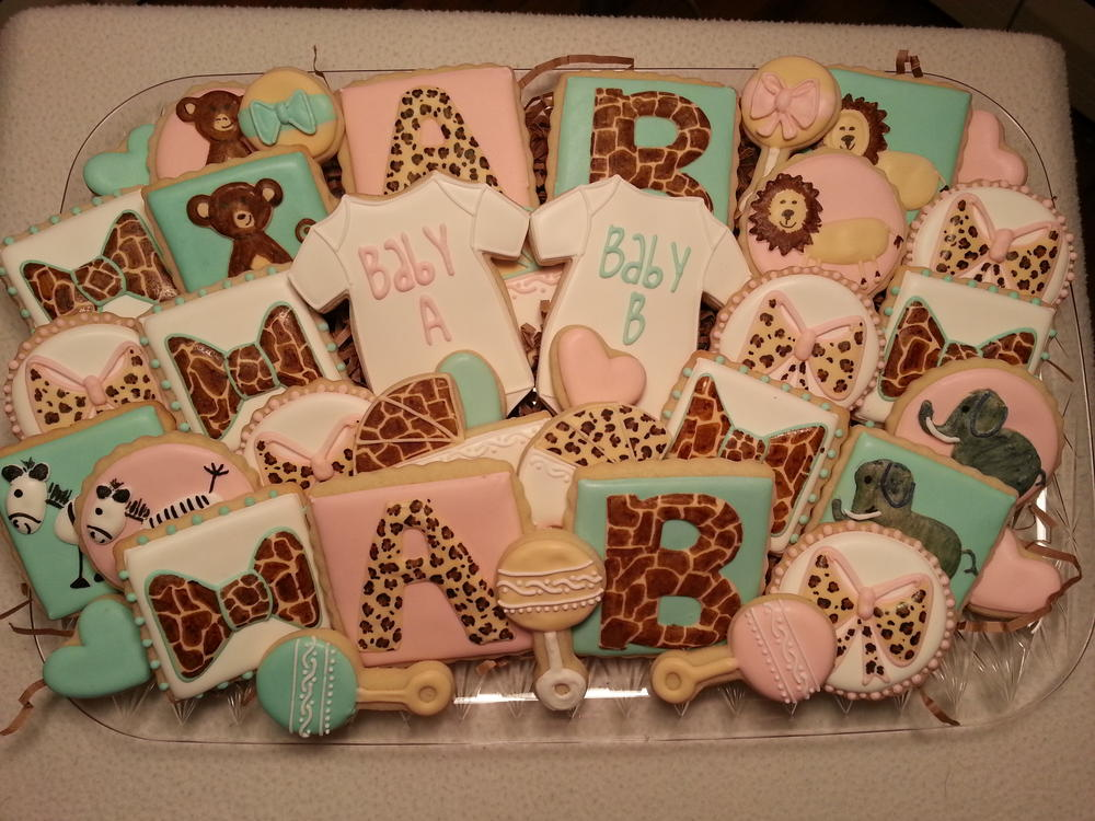 Girl And Boy Twin Jungle Themed Baby Shower Set Cookie