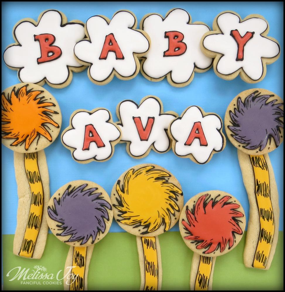 Dr. Suess Truffula Tree Baby Shower Cookies by Melissa Joy