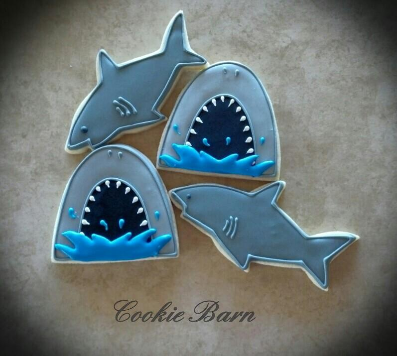 Shark Decorated Cookies Cookie Connection