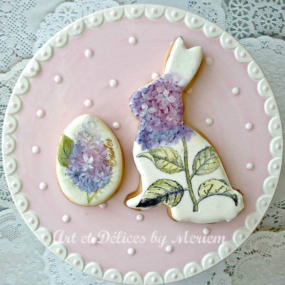 Hydrangeas Bunny-Lilacs Easter egg
