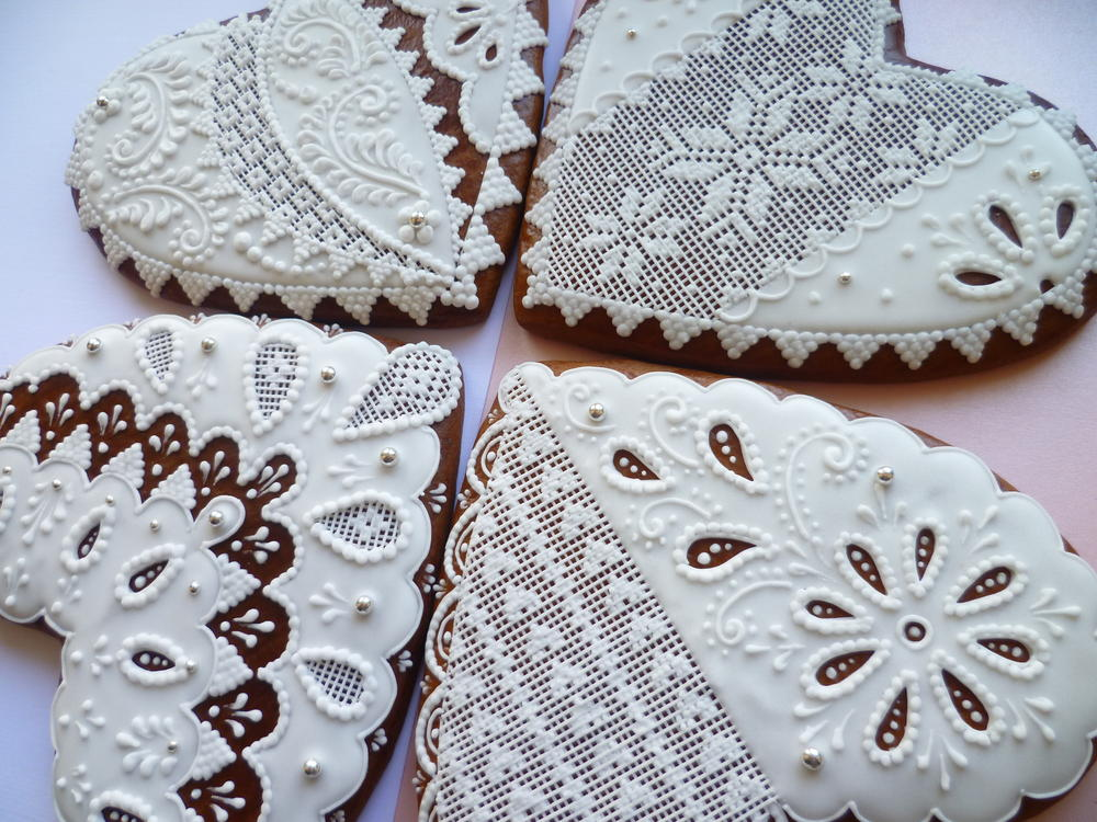 White Needlepoint Hearts