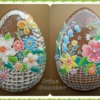 Easter egg-basket with flowers