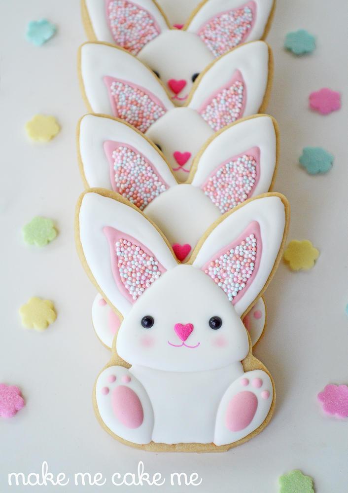Sprinkle-y Pink Easter Bunny Cookies