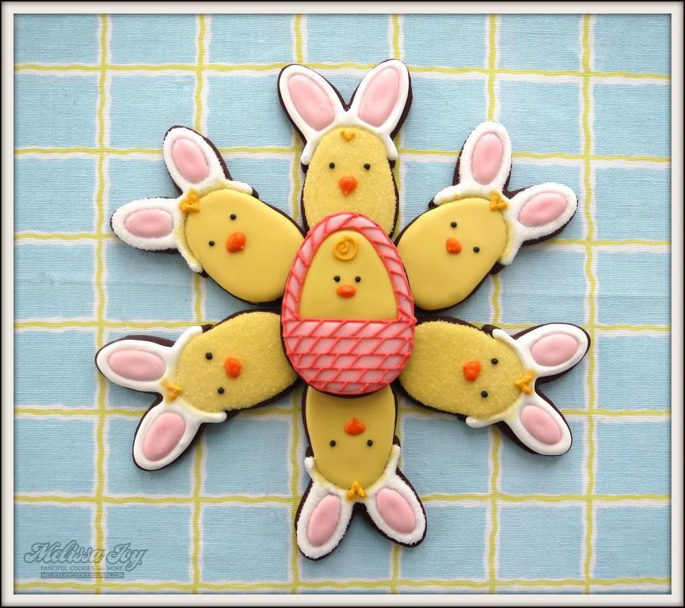 Chicks in Bunny Disguise for Easter by Melissa Joy Cookies