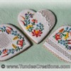 Gingerbread heart cookies with folk art design