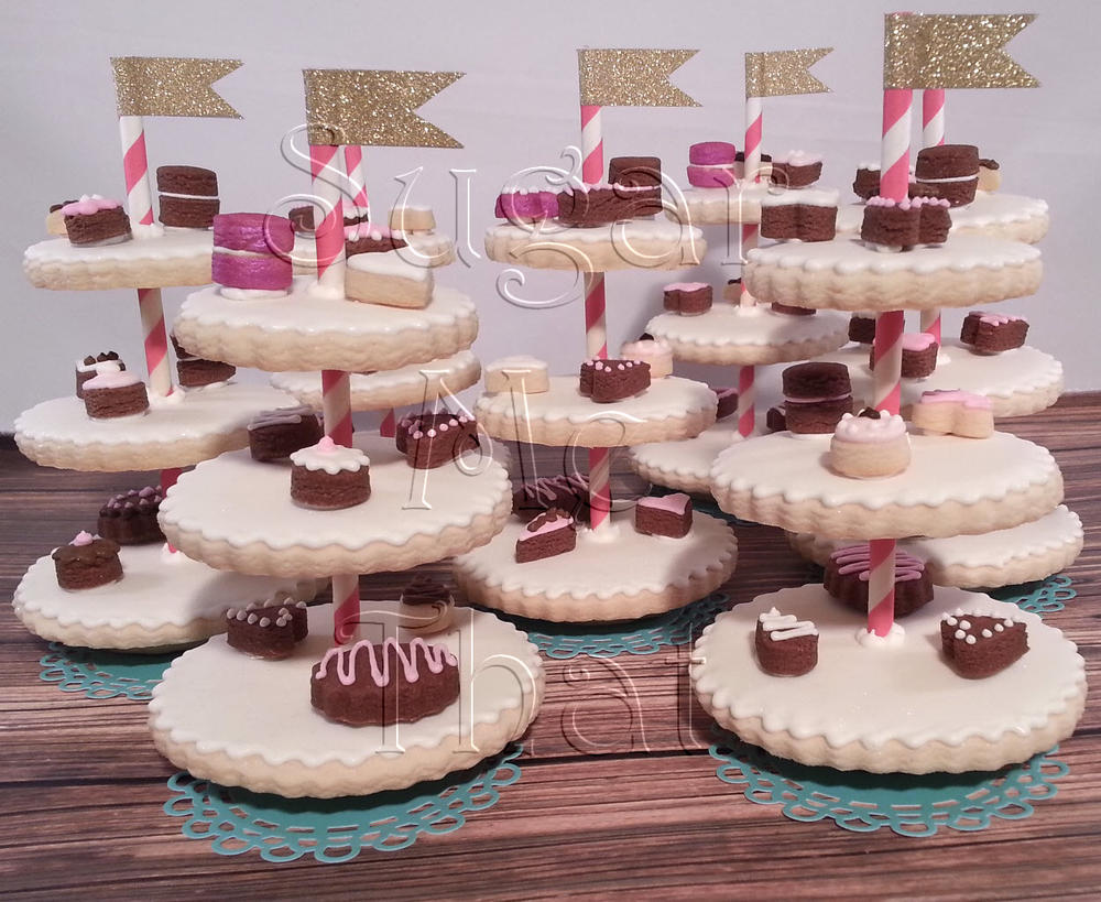 Mini Dessert Stand Cookies for Bridal Shower