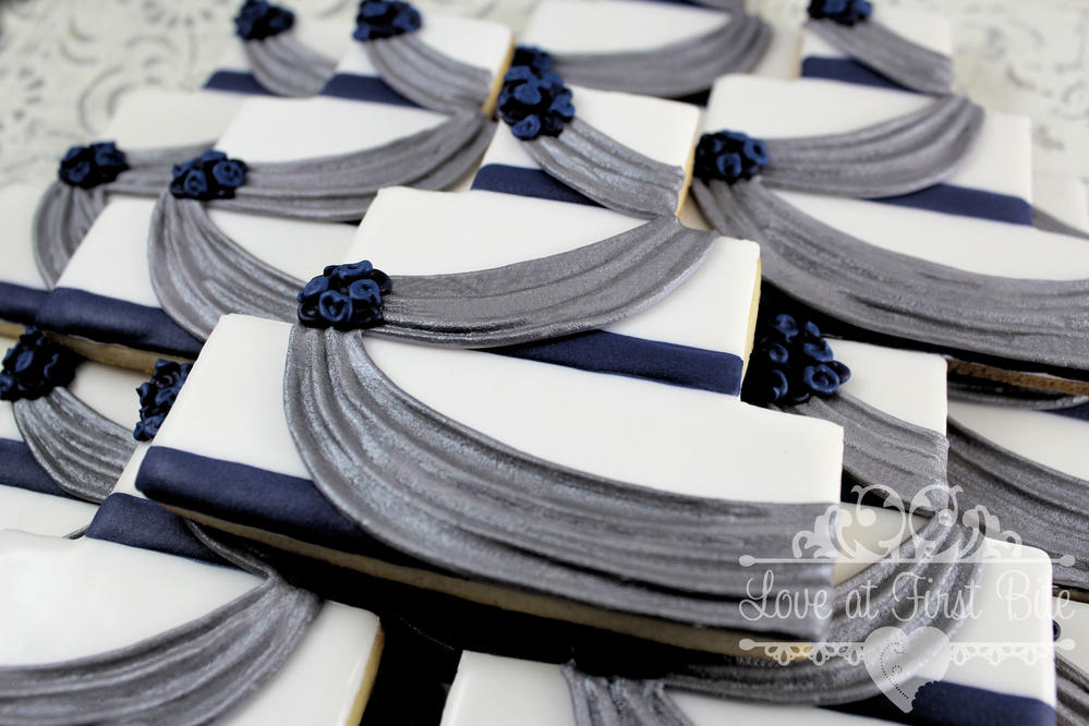 Navy And Silver Wedding Cakes Cookie Connection