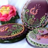 Eggs in purple, violet and green