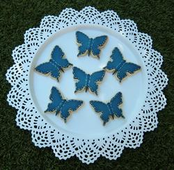 Denim butterfly cookies with white