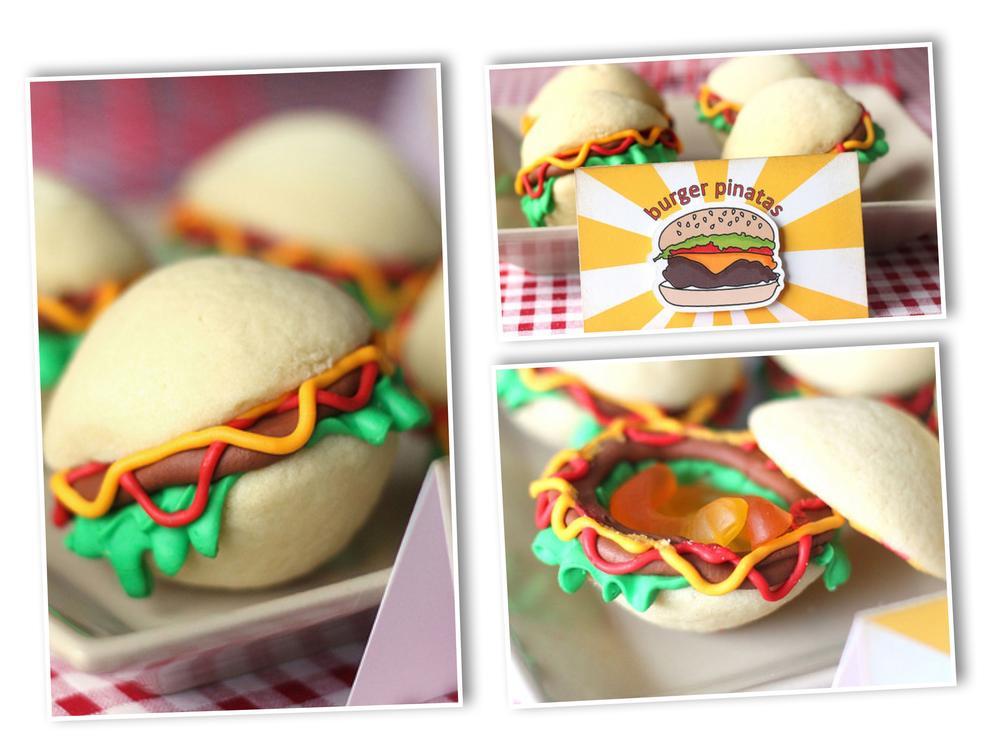 Hamburger piñata cookies