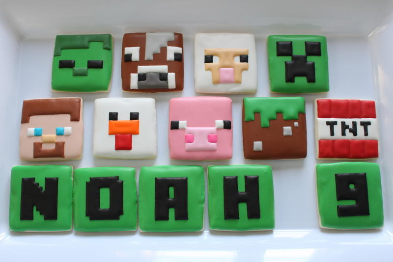 Minecraft Birthday Cookies