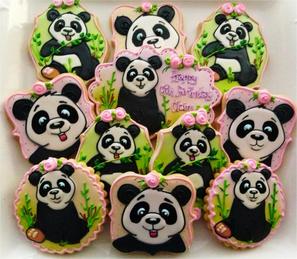 Girly Panda Cookies