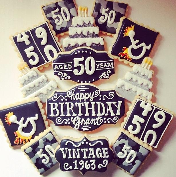 Vintage 50th Birthday Chalkboard Set Cookie Connection