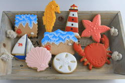 Beach themed birthday cookies