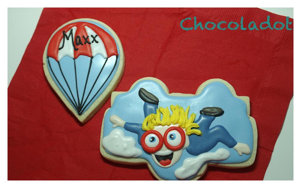 Skydiver & parachute