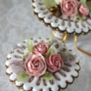 Eyelet Lace Doilies in 3-D Bouquets: Photo and Cookies by Julia M Usher