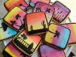 Handpainted Sunset cookies (whole set)