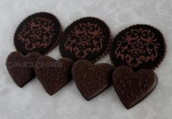 brown stenciled and filigree cookies