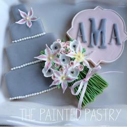 Wedding Cake, Bouquet and Monogram Set