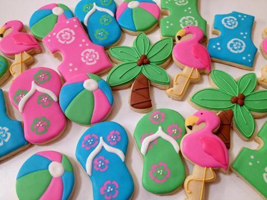 1st Birthday Hawaiian themed cookies