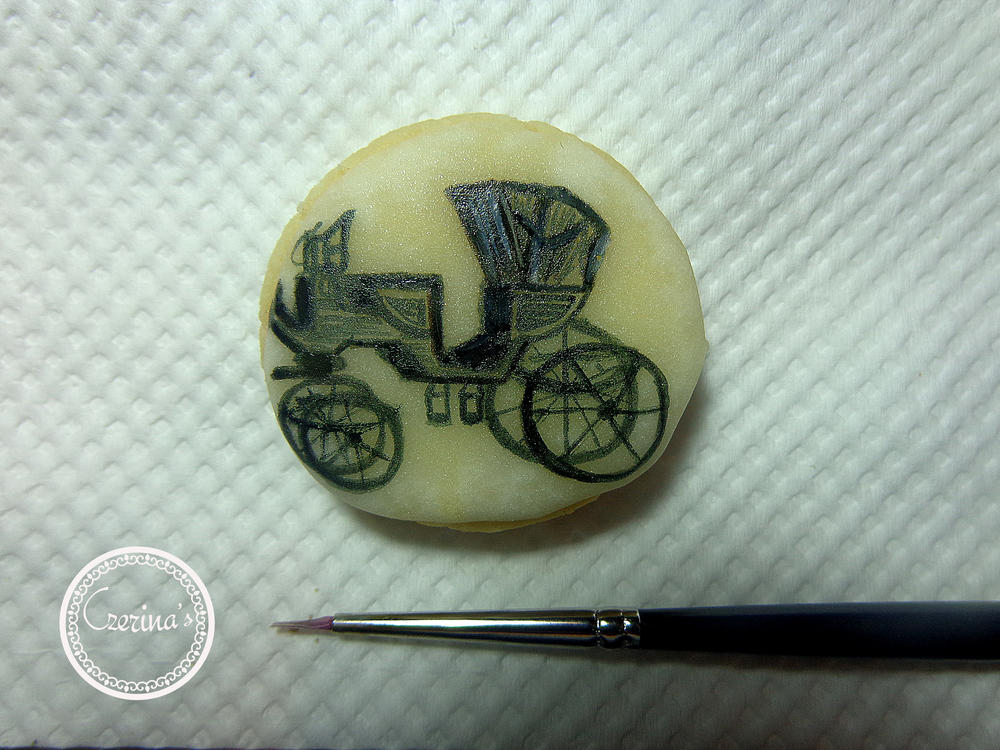 Miniature Carriage Painted on Cookie
