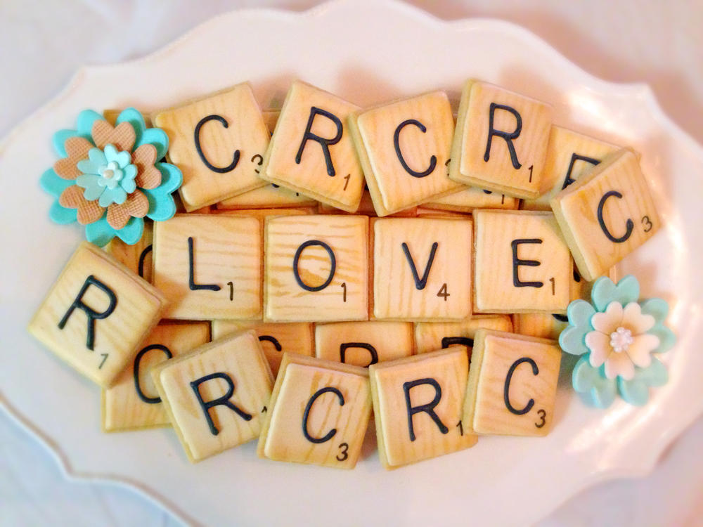 Scrabble Tile Wedding Cookies