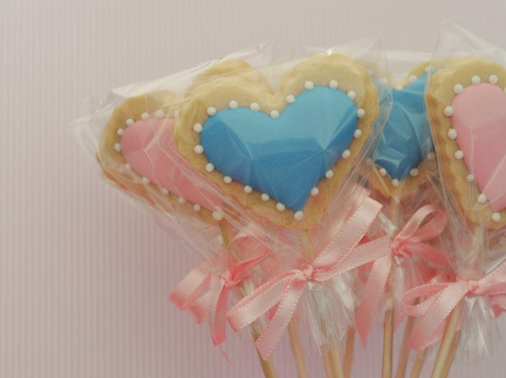 Heart cookies on stick