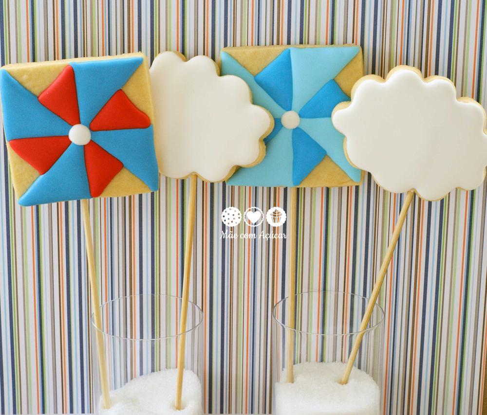 Pinwheel and Cloud Cookies on Stick