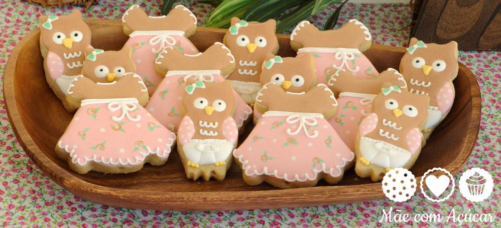 Baby shower owl and dress cookies