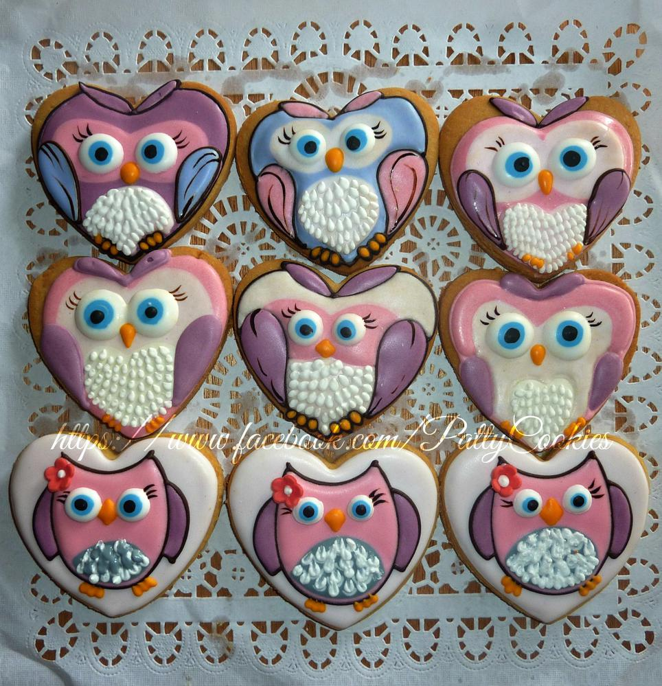 Owl Decorated Cookies Owl On Heart Shape Cookies Cookie Connection