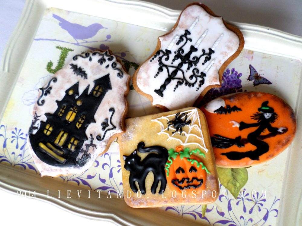 Halloween, witches, spiders and pumpkins
